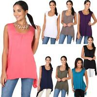 Womens Jersey Top Sleeveless Tunic Pleated Long Line T Shirt Stretch Loose Fit