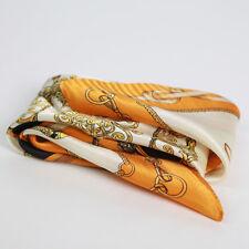 "100% Silk Scarf Women's Orange Euro Fashion Print Small Hand Neckerchief 21""*21"""