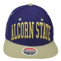 NCAA Zephyr Alcorn State Braves Purple Flat Bill Snapback Hat Cap Constructed