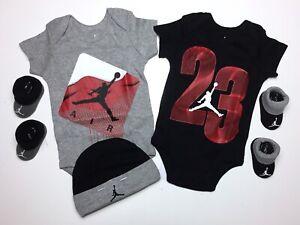 AIR JORDAN Baby BOYS Bodysuits/Rompers, Booties & Cap: 5-pc GIFT SET 0-6 Months.