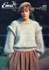 "~ Emu Knitting Pattern For Lady's Lovely Layered-Look Mohair Sweater ~ 32"" ~ 40"""