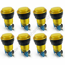 8 x 28mm Round 5v LED T10 Bulb Arcade Buttons & Microswitches (Yellow) - MAME