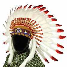 INDIAN HEADDRESS Chief PIUME COFANO Native American Gringo Bianco Rosso Nero