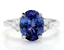 3.11 Carat Natural Blue Tanzanite and Diamonds in 14K Solid White Gold Ring