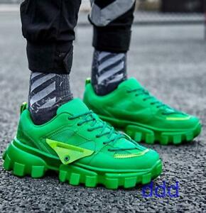 Mens Sneakers Retro Runway Dance Street Shoes Thick Heels Round Toe Sports Shoes