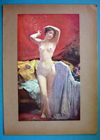NUDE Nude Lovely Girl Smoking Cigarette Leisure Time - COLOR Typogravure Print