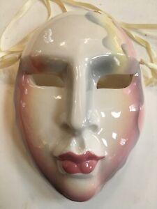Vtg San Francisco Ceramic Wall Hanging Clay Art Face Mask 1988 Woman w/ Horns