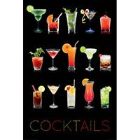 "COCKTAILS ON BLACK BACKGROUND - DRINKS - 91 x 61 cm 36 x 24"" - ART POSTER"