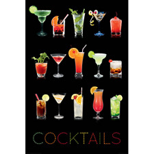 "COCKTAILS ON BLACK BACKGROUND - DRINKS - 91 x 61 MM 36 x 24"" ART POSTER"