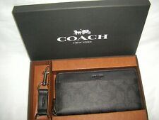NWT Coach Accordion Wallet & Key Chain Signature Black Canvas/Leather BOXED SET