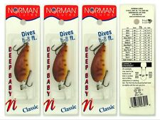 "(3) Bill Norman Made In USA Deep Baby N 2"" Crankbaits DBN-F54 Brown Craw (WP)"