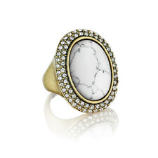 Chloe and Isabel Antique Gold Howlite and Pave Oval Ring - Size 8 - New