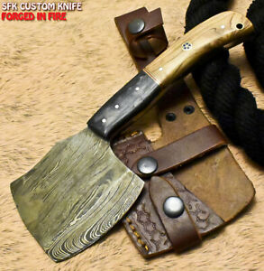 SFK Hand Forged Damascus Steel Olive Wood Hunting Clever Chopper Axe Knife