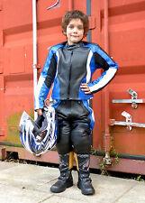 Baby Biker Kids Demon Sport Leather Childs Motorcycle Motorbike Trousers Blue T