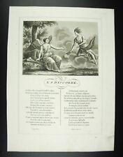 La Discorde (Déesse)  Fables Jean de La Fontaine 1834 gravure print XIXth