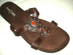 Minnetonka Womens Sandals Size10 Brown Leather Faux Amber Medallion Wedge Slide