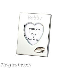 Heart Photo Frame with RUGBY BALL - Sterling Silver & personalised engraving