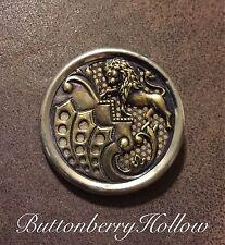 """Victorian Vintage Antique Lion Rampant Metal Button 1 1/2"""""""