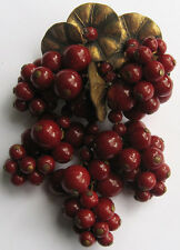 EARLY MIRIAM HASKELL VINTAGE BRASS & CHERRY RED GLASS BERRIES DANGLE PIN BROOCH
