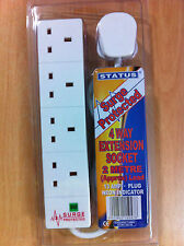 4 Way Surge Protected Extension Socket 13a 2m Lead Cable With Plug & Neon New