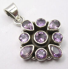 """925 Pure Silver Authentic FACETED AMETHYST MADE IN INDIA Pendant 1.3"""" BIJOUX"""