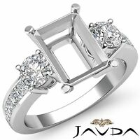 3 Stone Diamond Wedding Unique Ring Round Emerald Semi Mount 14k White Gold 1Ct