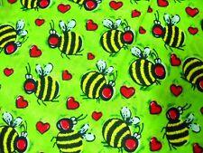 HOT LIME GREEN CUTE BUMBLE BEE / BEES & HEARTS BANDANA