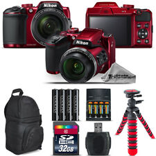 Nikon COOLPIX B500 RED Camera 40x Zoom + Extra Battery + Backpack - 32GB Bundle