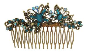 Blue and Gold Vintage Inspired Bridal Hair Comb Butterfly Hair Comb Prom Races