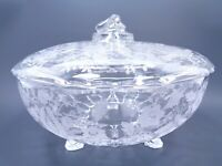 VINTAGE VIKING GLASS CO CLEAR FOOTED BOWL & LID PRELUDE PATTERN CIRCA LATE 1950s