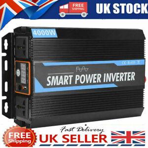 Pure Sine Wave Car Power Inverter 4000W DC 12V to 240V AC Converter UK