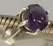 925 STERLING SILVER purple CZ SOLITAIRE RING Design European slide on CHARM BEAD
