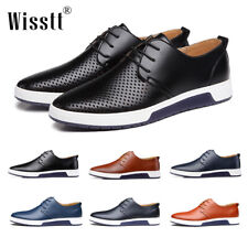 British Mens Casual Leather Shoes Lace-up Sneakers Breathable Shoes Loafers Size