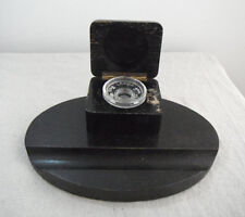 Antique Oak Inkwell Desk Stand