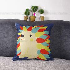 1x Composite Linen Cushion Case Oil Painting Cute Hedgehog Pillow Cover 42x42cm
