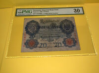 PMG Germany, Imperial Bank Note 1908 20 Mark Banknote Pic31 VF30