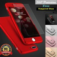iPhone 7 6s 7Plus Hybrid 360° Tempered Glass + Acrylic Hard Case Cover For Apple