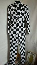 SuitMeister Mens Black White Check Fancy Dress Trousers Jacket Tie Opposuits