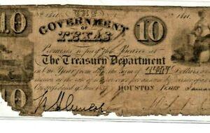 """$10 """"TEXAS"""" (REPUBLIC OF TEXAS) 1800'S RARE!! $10 (REPUBLIC OF TEXAS)  $10 RARE!"""