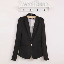 Women Girl Work Office Long Sleeve Collared Blazer Suit Jacket Coat Outwear Top