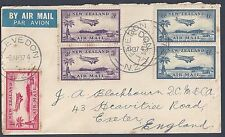 New Zealand Uk 1937 Air Mail Set Tied On Air Mail Cover Clevedon To Exeter