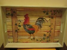 Wood Rooster Tray New No Box
