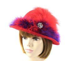 bab02f17 Red Knit Church Dress Derby Bowler Hat Marabou Rhinestones Society Ladies