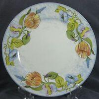 American Atelier Floral Garden 5088 Dinner Plates Porcelain Blue Rim