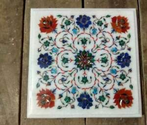 """12""""  White Inlay  Marble Dining Center Coffee Table Top Blue Malachite Hh3"""
