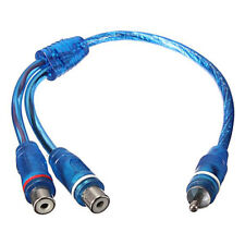 1 RCA Male To 2 Female Splitter Stereo Audio Y Adapter Cable Wire Connector Blue