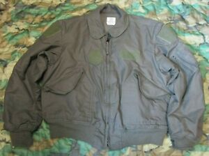 GENUINE US USAF CWU-45/P SAGE GREEN FR NOMEX COLD WEATHER FLIGHT JACKET. XL.
