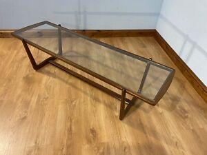 RARE MID CENTURY VINTAGE RETRO 70'S GLASS TOP DANISH STYLE COFFEE TABLE