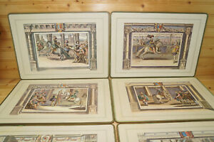 """Renown Series Jousting (6) Cork Placemats, 14 1/2"""" x 10 5/8"""", Made in Britain"""