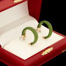 Antique Vintage Deco 14k Rose Gold Chinese Carved Nephrite Jade Hoop Earrings